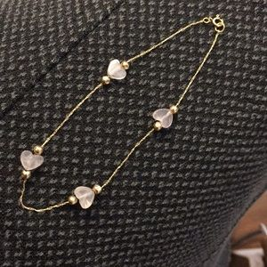 Jewelry - Petit 10k yellow gold / rose quartz bracelet